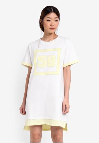 Something Borrowed white Cuffed Sleeve Tee Dress 28C1BAA18AB216GS_1