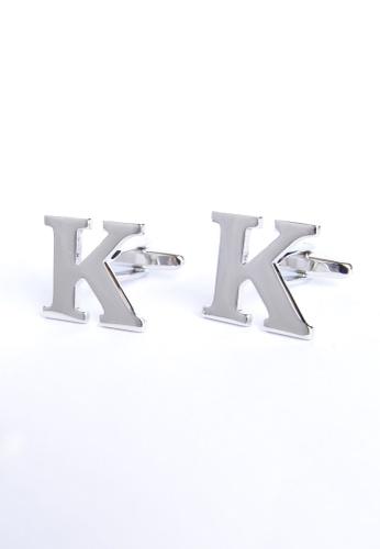Splice Cufflinks silver Monogram Alphabet Rhodium Plated Cufflinks - K SP744AC12PRNSG_1