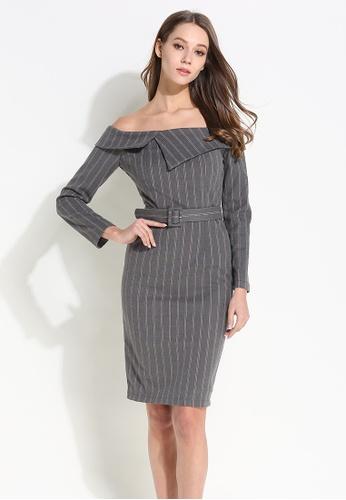 Sunnydaysweety grey Pinstriped Off Shoulder One Piece Dress 06D8AAA12D7B77GS_1