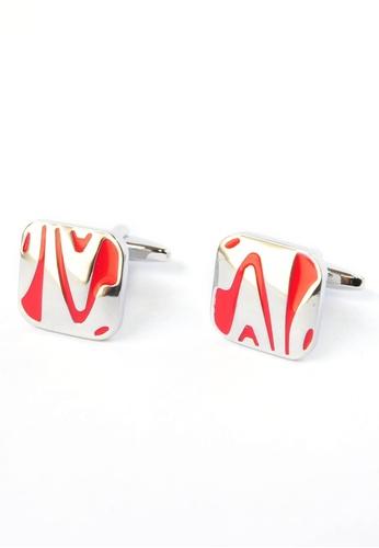 Splice Cufflinks red Red & Chrome Swishy Pattern Cufflinks SP744AC90CPTSG_1