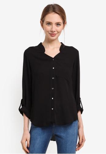 Dorothy Perkins black Black Notch Neck Roll Sleeve 3C09BAAB27D751GS_1