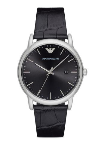 ARMANI black Armani Luigi Black Leather Watch AR024AC74ZDDMY_1