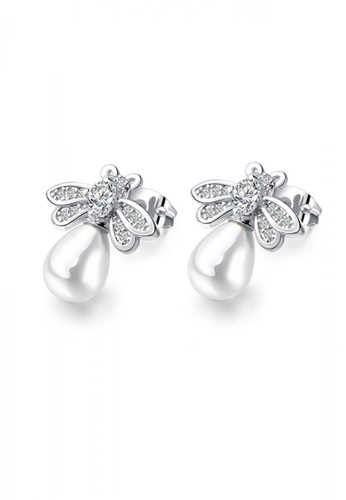 Glamorousky silver Fashion Elegant Bee Pearl Stud Earrings with Cubic Zirconia B23F6AC5A3984BGS_1