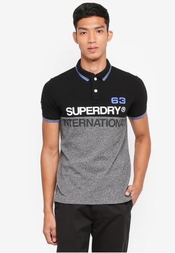 Superdry black International Short Sleeve Polo Shirt 296E0AA319E1B2GS_1