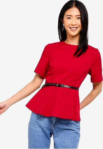 ZALORA BASICS red Basic Workwear Peplum Top With Belt 54BD8AA16672C1GS_1