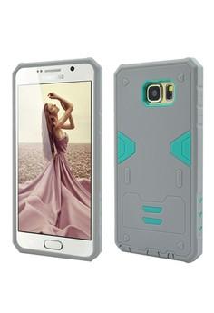 Armor Hybrid Anti Shock Heavy Duty Case for Samsung Galaxy Note 5- Grey/Green