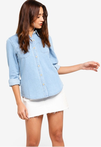 ZALORA blue Denim Shirt FFC6DAA0D76885GS_1