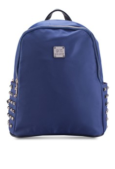 Bagstationz Studded Fashion PU Trimmed Nylon Backpack