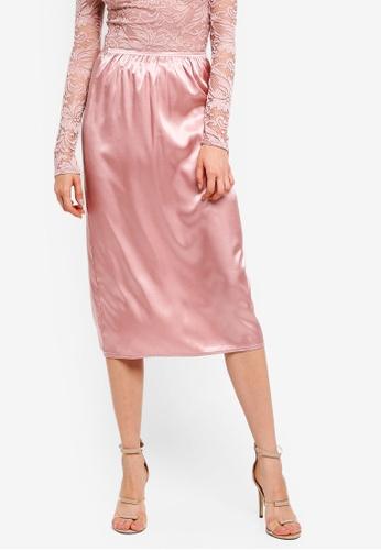 c894c150c Rose Satin Slip Midi Skirt