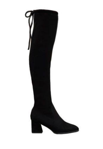 Twenty Eight Shoes black Trapezoid Mid Heel Pointed Toes Over Knee Boot VB116 02F30SH73BEF43GS_1