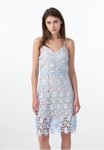 Les Premieres blue Scallop Lace Spaghetti Strap Midi Dress A9A92AA27EA886GS_1
