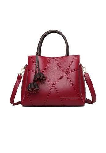 Lara red Women's Fashionable Flower Charms Leather Zipper Shoulder Bag Handbag - Wine Red FAE70ACE514EFBGS_1