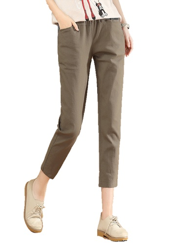 A-IN GIRLS brown Elastic Waist Trousers 7BD8DAA876404BGS_1