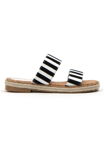 Crystal Korea Fashion black Korean Summer Wild Striped Flat Slippers 979DASH7550B74GS_1
