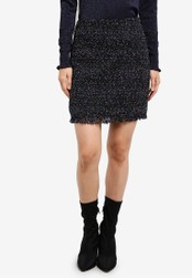 WAREHOUSE black Neon Tweed Skirt WA653AA0SBZOMY_1