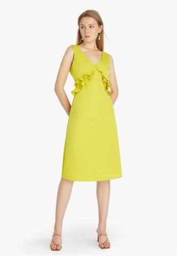 Pomelo green Ruffled Sleeveless Dress - Green 1A2D9AAD03D48FGS_1