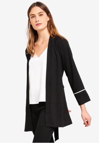 ZALORA BASICS black Basic Self Tie Kimono 50D93AACE0F6B6GS_1