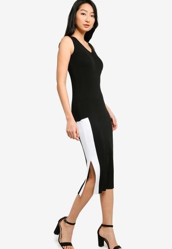 ZALORA BASICS black Colourblock V Neck Midi Knit Dress 694F9AAE084DCFGS_1