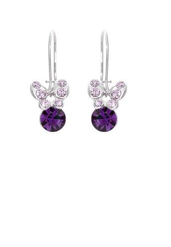 Glamorousky purple Mini Butterfly Earrings with Purple Austrian Element Crystals B64F8AC6961560GS_1