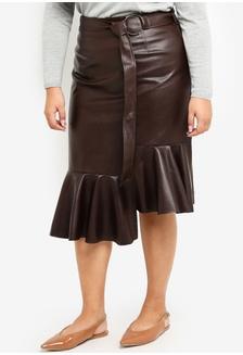 3b7ba50b7bb Plus Size Pose Faux Leather Asymmetrical Frill Hem Skirt A9531AA8F9BFFBGS 1