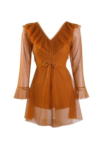 Its Me orange Sexy Gauze Big Backless One-Piece Swimsuit 0E53DUS0A2B4A8GS_1
