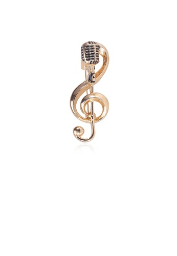 Glamorousky silver Fashion Creative Plated Gold Microphone Music Note Brooch CE1ACACC984FFCGS_1