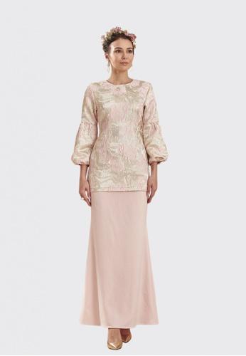 Aurora Modern Kurung from Nadjwazo by LadyQomash in Pink and Gold