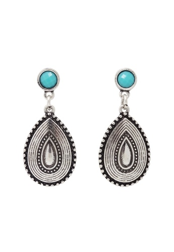 Jaysa Collection silver Modern Tribal Waterdrop Silver Earrings With Marine Blue Resin JA875AC0F48GSG_1