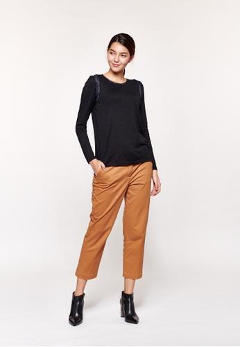Sisley black Lurex T-shirt 7C3E2AAF01FFECGS_1