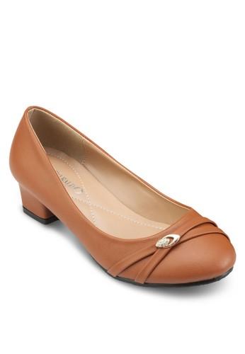 閃鑽交叉帶圓頭低粗跟鞋,esprit 台灣官網 女鞋, 鞋