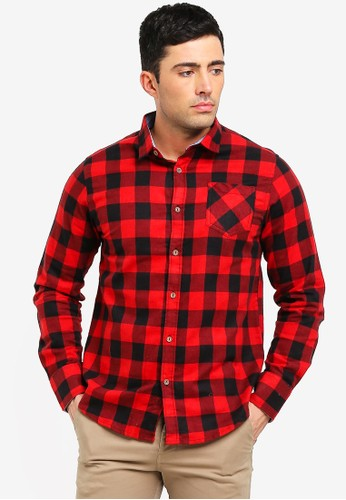 Brave Soul red and multi Heavily Printed Brushed Check Shirt 3AC59AA014C21CGS_1
