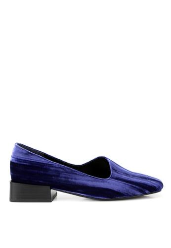RABEANCO blue RABEANCO MIRANDA MIRROR Block Heels - Indigo Velvet D6A53SHFD5667EGS_1