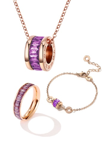 CELOVIS purple and gold CELOVIS - Oceane Purple Cryolite Necklace + Bracelet + Ring Jewellery Set 13DA1ACAF8DD14GS_1