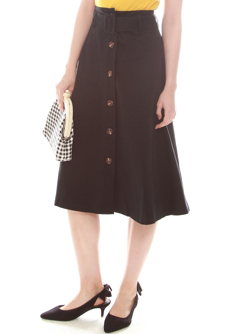 Button Skirt Front Midi Black JOVET UqBHvwZCq