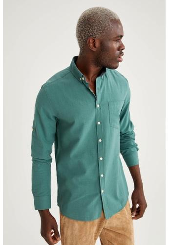 DeFacto green Long Sleeve Cotton Shirt 839A2AA2D59FA3GS_1