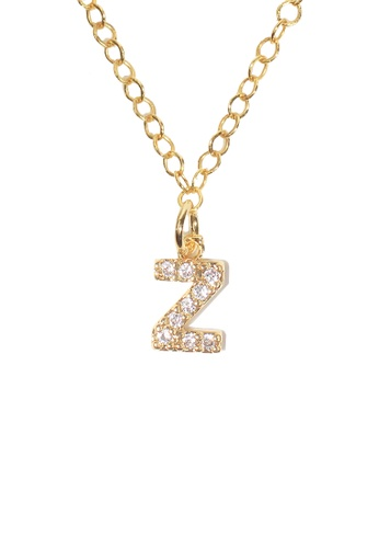 PSYNDROME gold Personalised Initial Letter Alphabet Cubic Zirconia Necklace - Z A2AFEACF191825GS_1