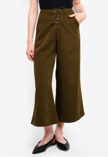 Something Borrowed green Laced Up Culottes 9D146AA822CB29GS_1