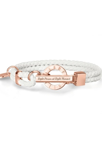 Crudo Leather Craft white La Memoria Double Woven Leather Bracelet - Swan White (Rose Gold Edition) CE905ACD2BE611GS_1