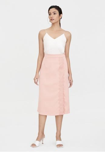 Pomelo pink Satin Lace Side Slit Skirt - Pink FC34CAA46F5D57GS_1