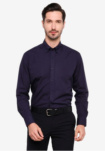 Sacoor Brothers navy Regular fit cotton elastane comfort poplin shirt in garment dye 2906CAABB6E9ECGS_1