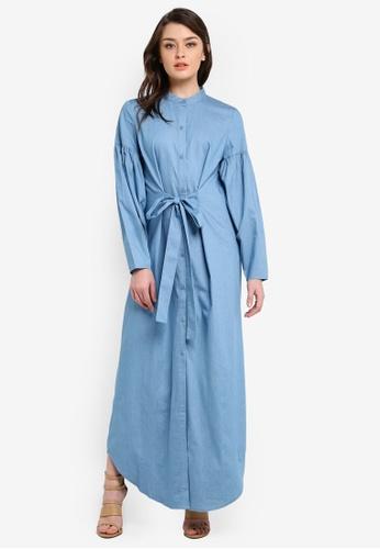 Zalia blue Puff Sleeve Shirt Dress F3D3DAA6958FDDGS_1