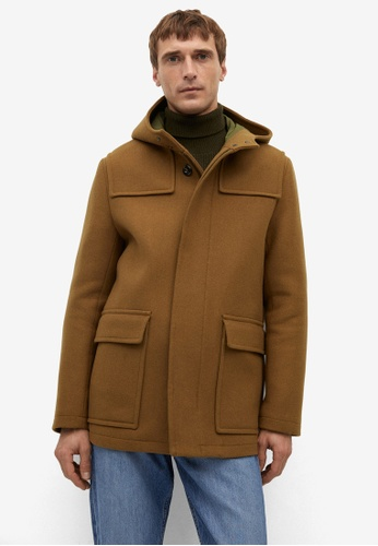 Mango Man brown Detachable Hood Wool Coat 3A22BAA1F44F44GS_1