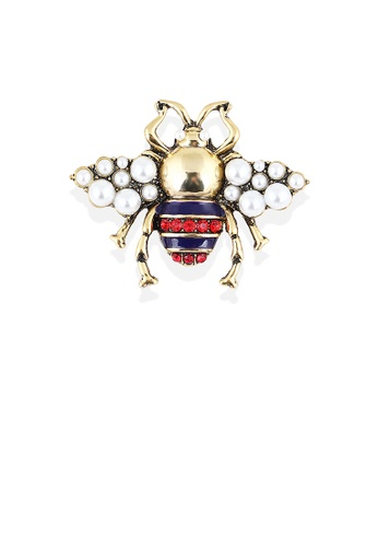 Glamorousky red Fashion and Lovely Plated Gold Bee Imitation Pearl Brooch with Cubic Zirconia 59C6EAC474E05EGS_1