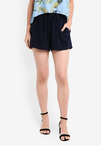 ZALORA navy Ruched Waistband Shorts EA5FBAA56DEF10GS_1
