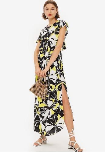 TOPSHOP black Floral Print Deconstructed Midi Dress E646CAAACBC549GS_1