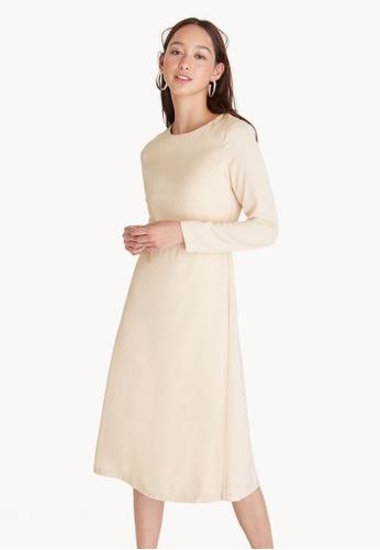 Pomelo beige Long Sleeves Straight Dress - Cream 8F19BAA0459E92GS_1