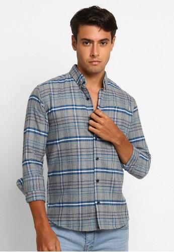 VENGOZ grey Pier Flannel Shirt 9E4E7AAEC0DDB0GS_1