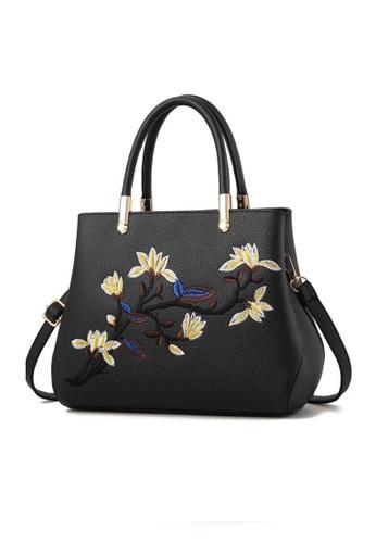TCWK black TCWK Korea Style Black Floral PU Leather Handbag TC258AC0S9PRMY_1