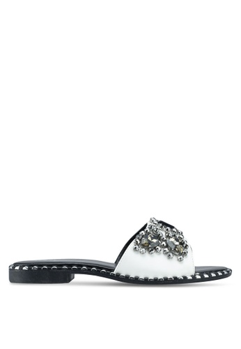 OVS 白色 Sabot Sandals With Diamantes and Opening C6A6BSH5D49A28GS_1