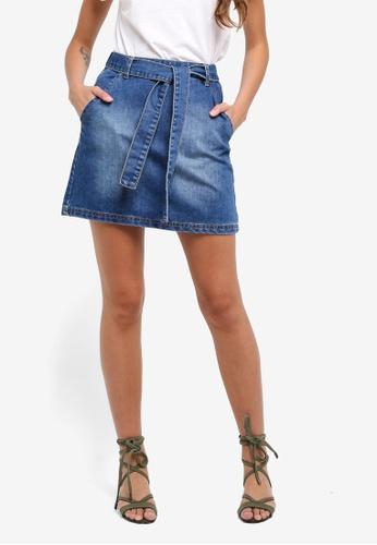 ZALORA blue Self Tie A Line Skirt 3056DAADEEBF0FGS_1
